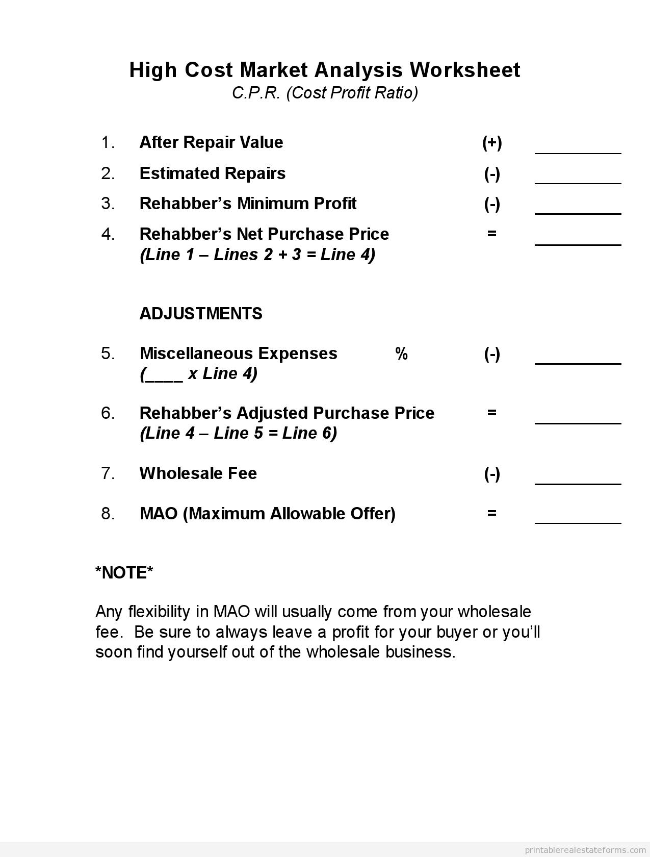 Printable High Cost Marketysis Worksheet Template