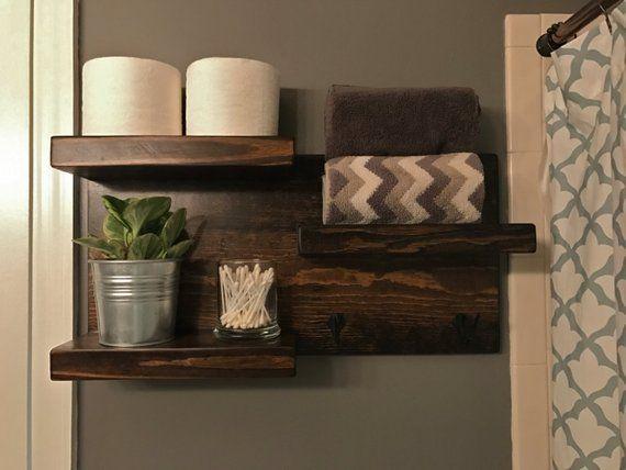 Dark Walnut Rustic Bathroom Shelving Storage with Hooks