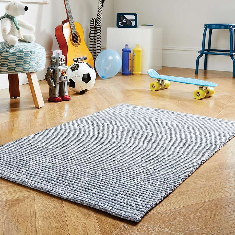Cotton Chenille Grey Rug Dunelm