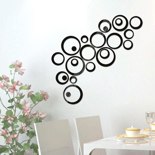 New Creative Circle Ring Acrylic Mirror Wall Stickers 3D Home Room Decor Decals