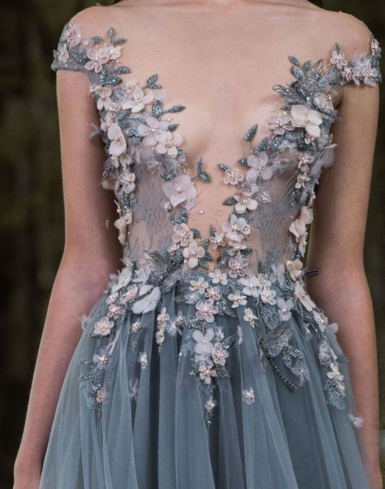 Paolo Sebastian...Wow interesting details. Recreate 2-3 details & change the embellishments to fit the wedding theme.