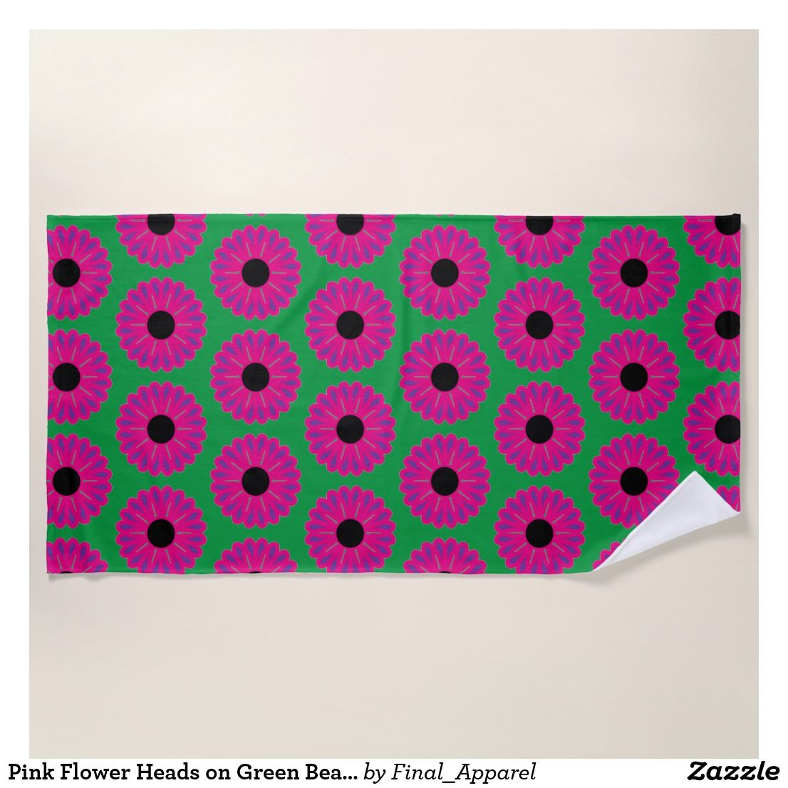 Pink Flower Heads On Green Beach Towel With Images Pink