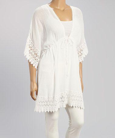 Look what I found on #zulily! White Crochet-Trim Tunic - Plus #zulilyfinds