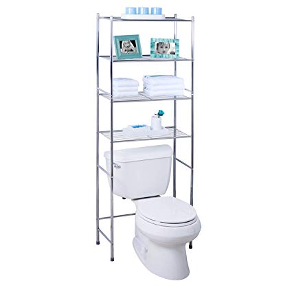 Amazon Com Honey Can Do Bth 05281 4 Tier Metal Bathroom Shelf Space Saver 24 02 X 11 02 X 67 72 In 2020 Bathroom Space Saver Over Toilet Storage Metal Bathroom Shelf