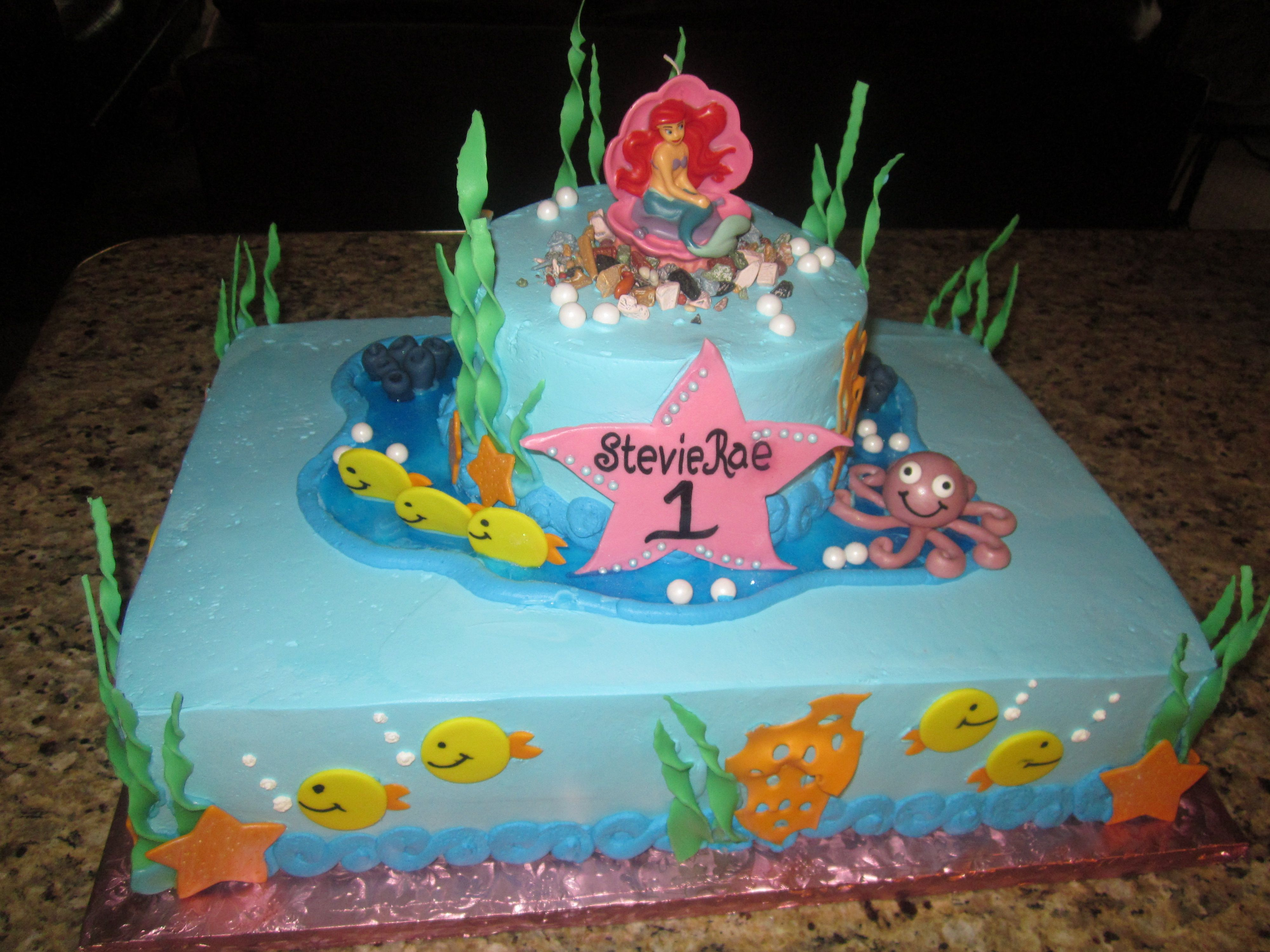 Ariel Cake Decorations The Lttle Mermaid 6 Round On Top Of A 1 2 Sheet Cake All