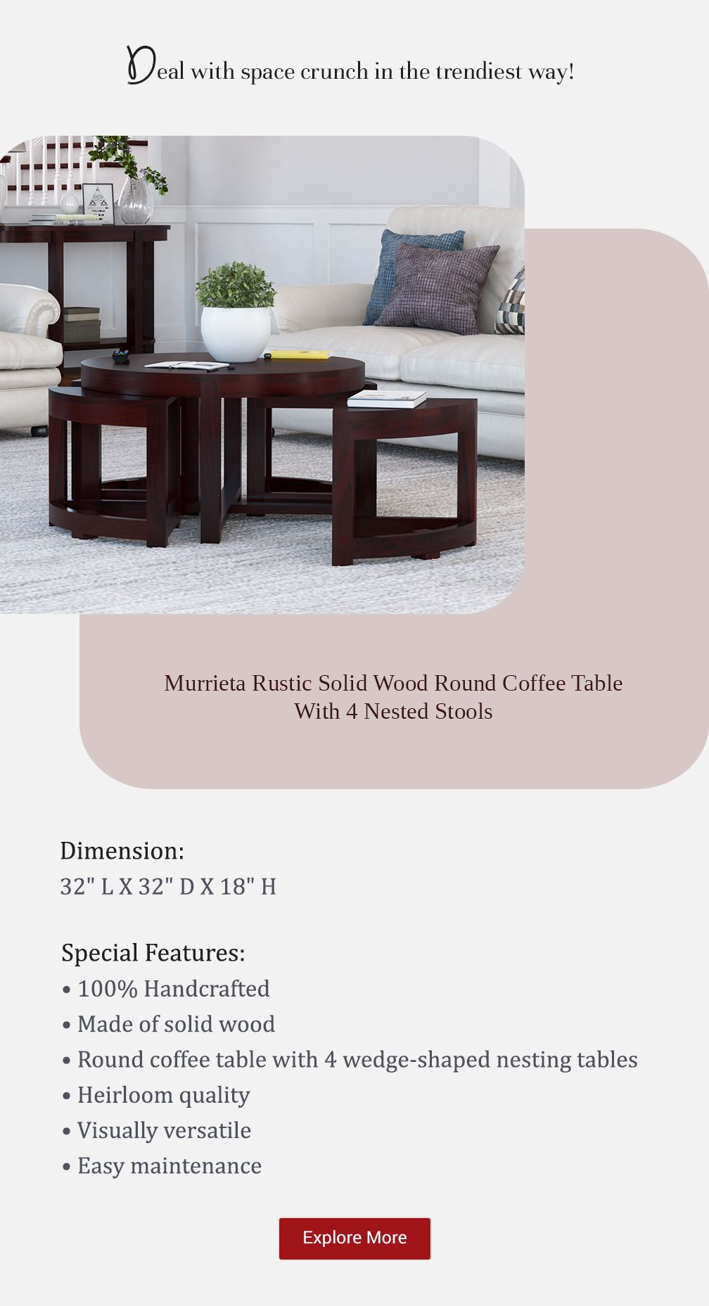Murrieta Solid Wood Round Coffee Table With 4 Nested Stools Round Wood Coffee Table Round Coffee Table Coffee Table [ 1857 x 1008 Pixel ]