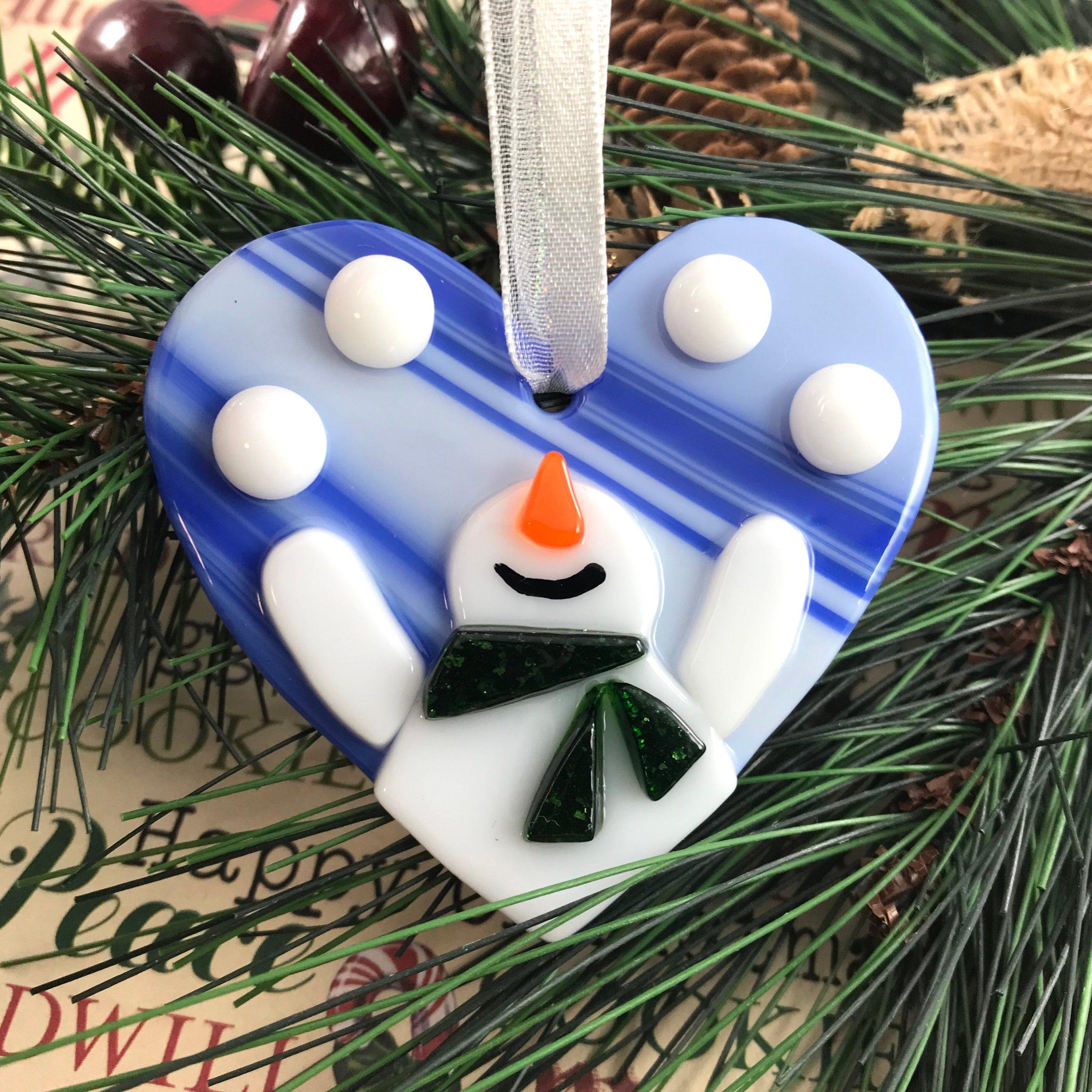 Juggling Snowman Ornament Fused Glass Snowman Glass Heart Ornament Christmas Ornament Happy Snowman Holiday Decor Tree Decoration Glass Christmas Decorations Glass Christmas Ornaments Fused Glass Ornaments