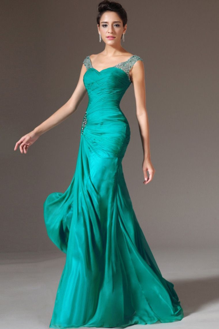 2014 Off The Shoulder Pleated Bodice Sheath/Column Beaded Prom ...