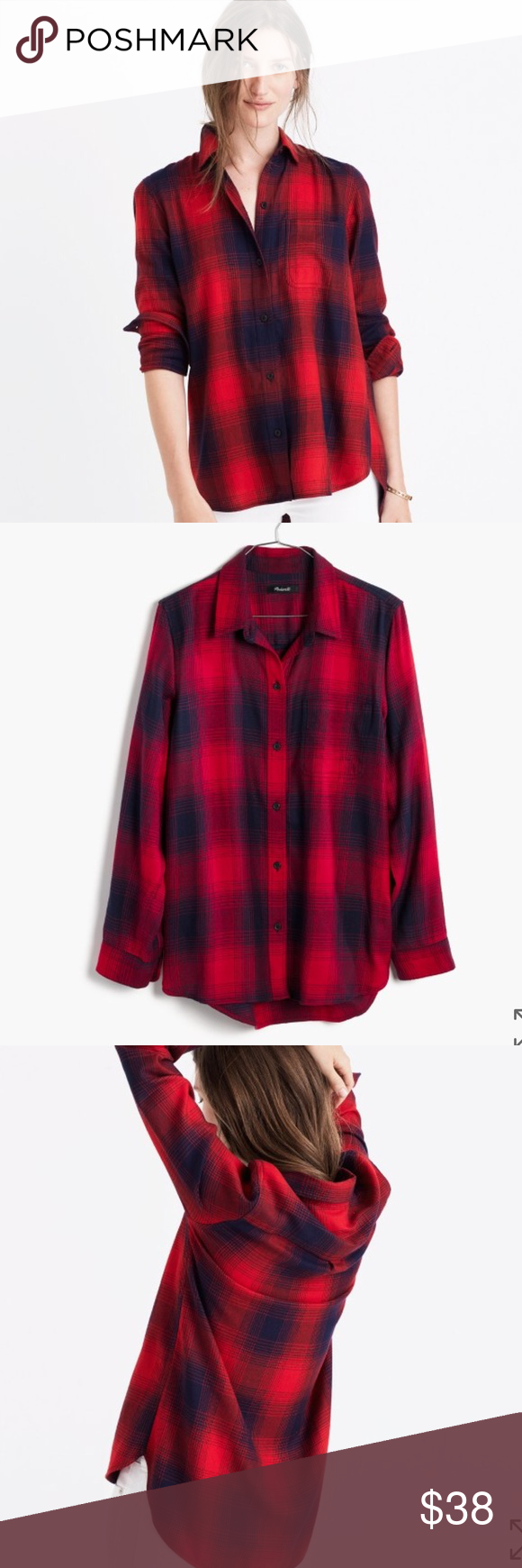 NWT Madewell flannel Brand new with tags size large madewell flannel. Super comfy and soft. Normally $79 Madewell Tops Button Down Shirts