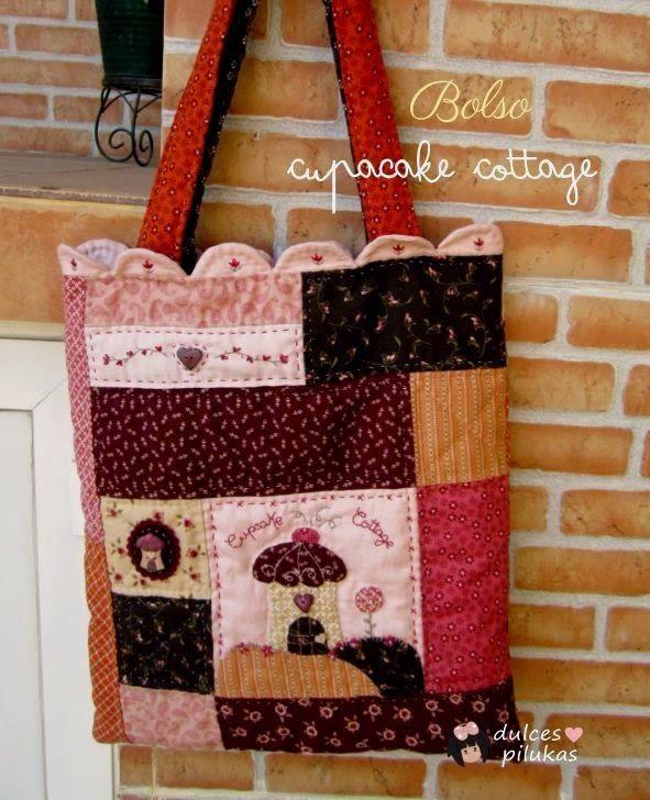 Bolso patchwork cupcake cottage bolsos pinterest - Manualidades patchwork bolsos ...