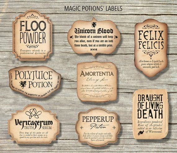 graphic regarding Printable Harry Potter Potion Labels identified as Harry Potter impressed Magic Potions Labels Printable Information