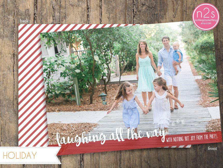 Printable Christmas Card Custom Family Photo Laughing All The Way