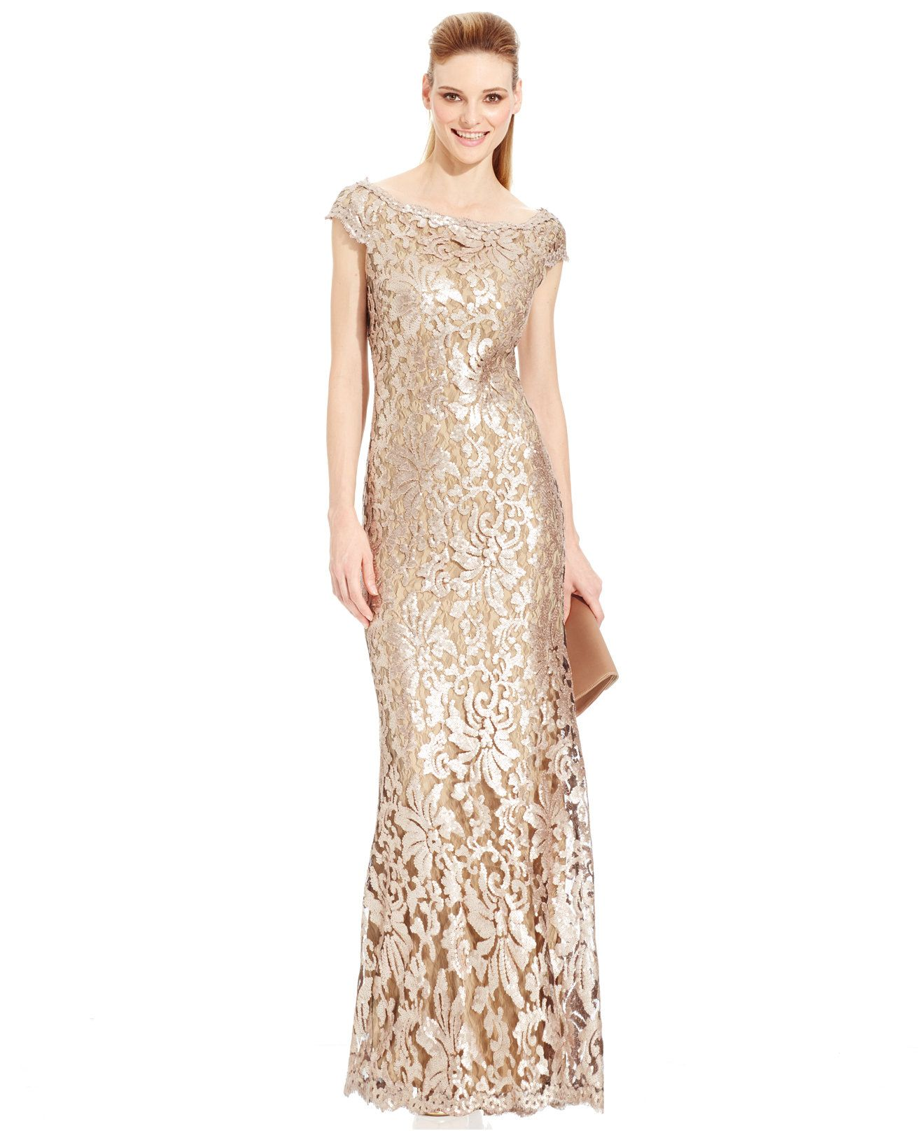 Adrianna Papell Sequin-Embellished Metallic Gown - Dresses - Women