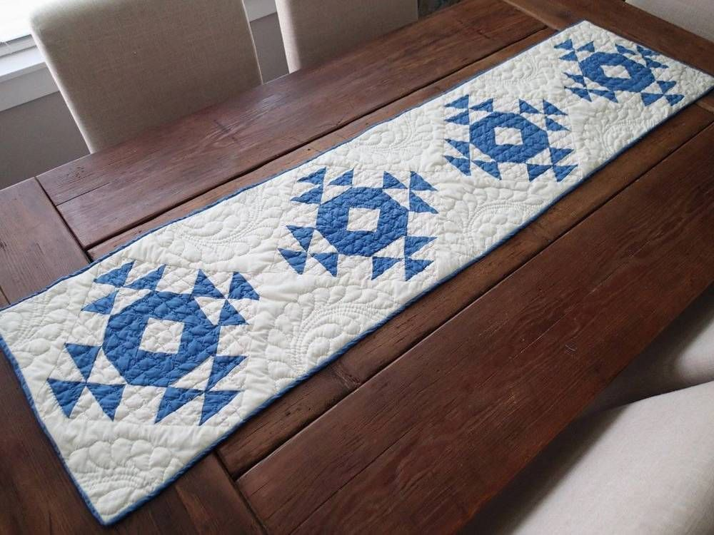 Vintage Blue And Creamy White Farmhouse Table QUILT RUNNER