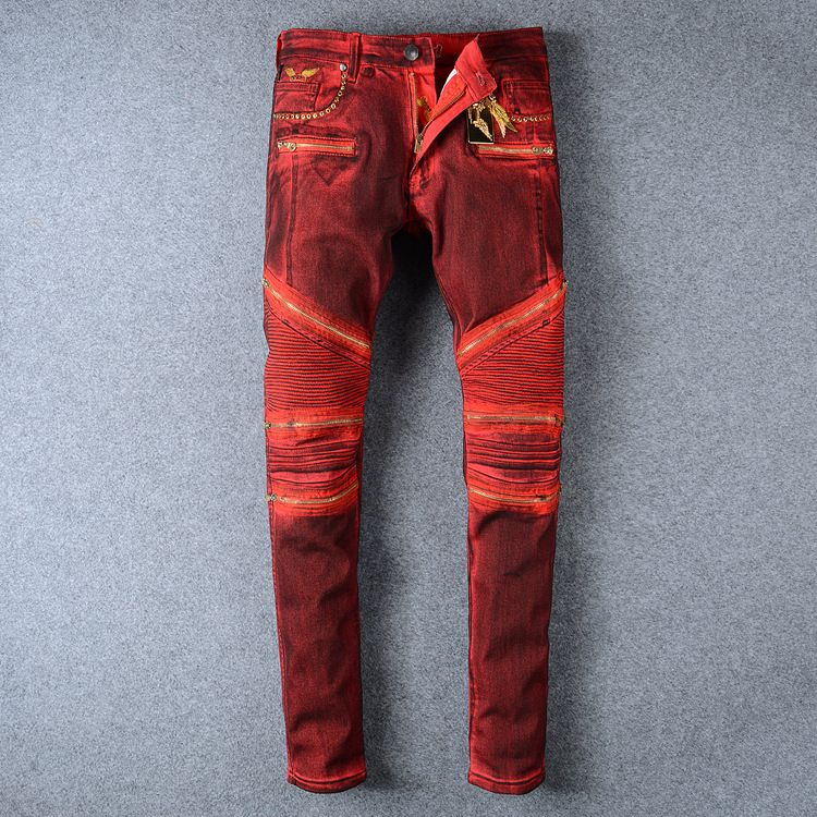 a1bfa46fd95 Foreign Western style famous brand Men jeans pants elastic wine red color  jeans long pants slim straight pants trousers for mens