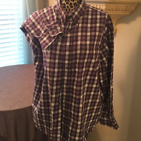 Flannel long sleeve blouse Purple / black / white ~ check ~ 100 % cotton  ~ St. John's Bay Tops Button Down Shirts