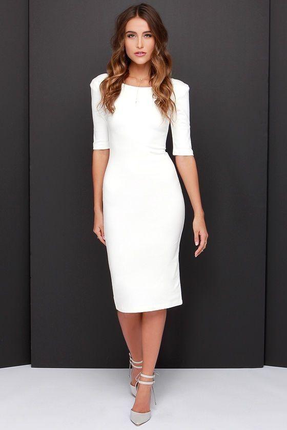 Pure Color Zipper Backless Half Sleeve Knee-length Dress | Perfect ...