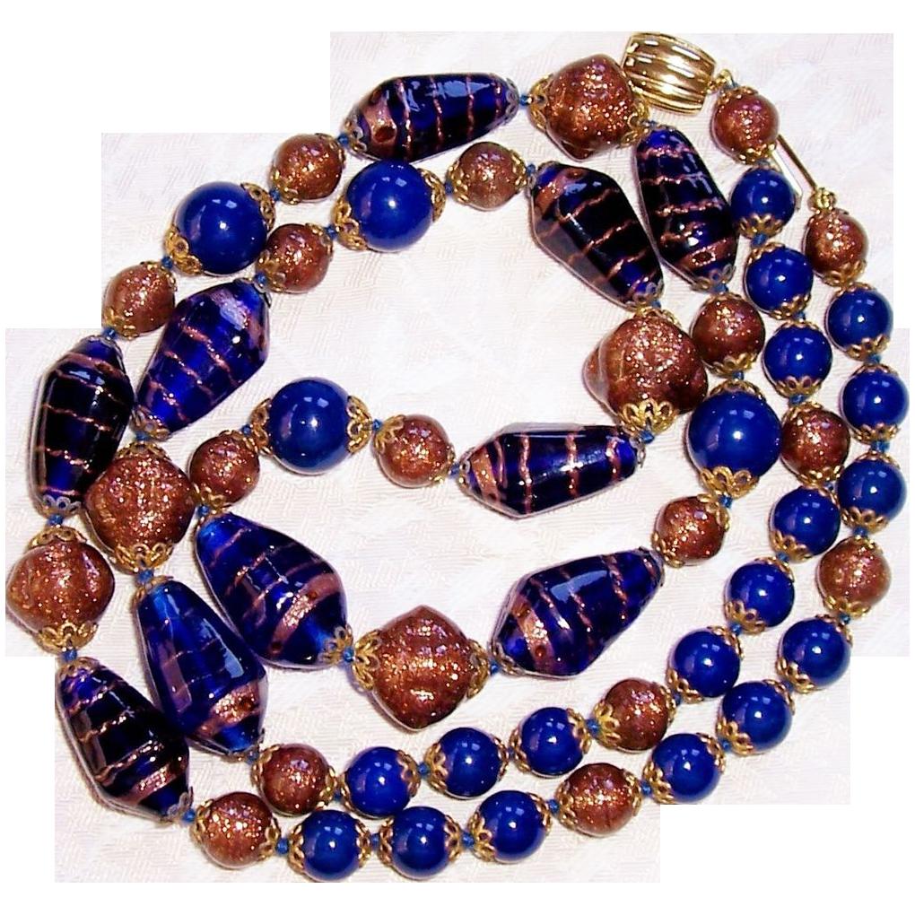 Beautiful Vintage Italian Venetian Murano Art Glass Bead Necklace /145