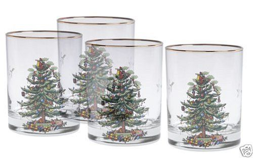 Spode-Christmas-Tree-14-Ounce-Dof-Glasses-With-Gold-Rims-Set-Of-4