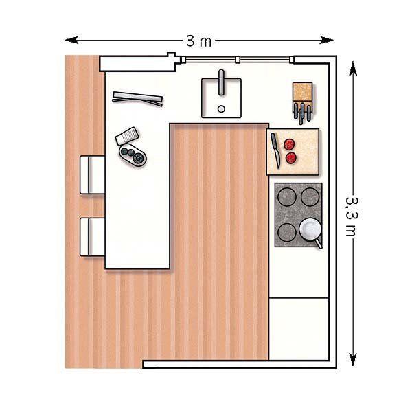 Doce cocinas con barra y sus planos kitchens ideas for Planos para hacer una cocina de juguete