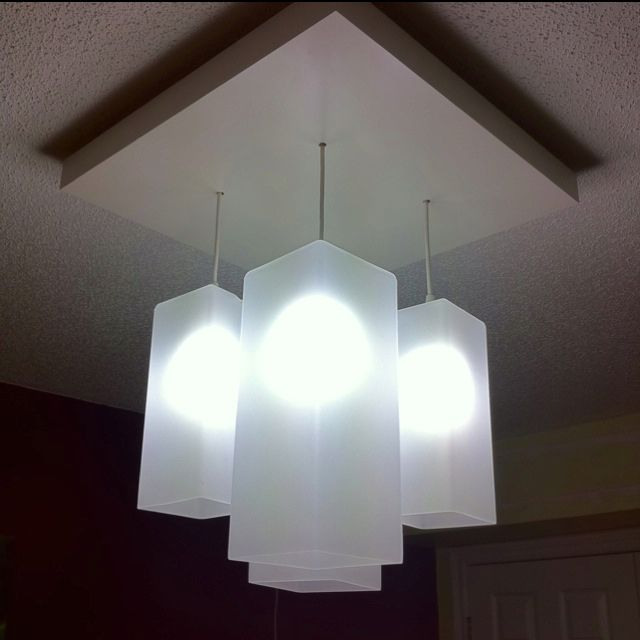 my new bedroom light made from ikea lack table top