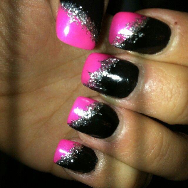 Pin By Kristin Keene On Nails Pink Black Nails Hot Pink Nails