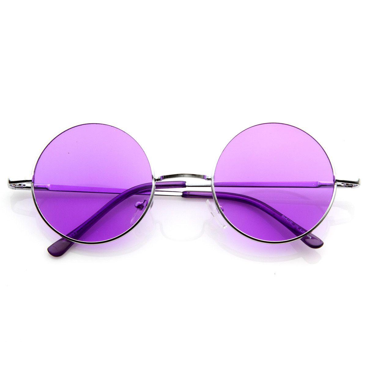 27a06cdccf Retro Hippie Fashion Metal Lennon Round Sunglasses Color Lens 8594 Purple  Haze, The Color Purple
