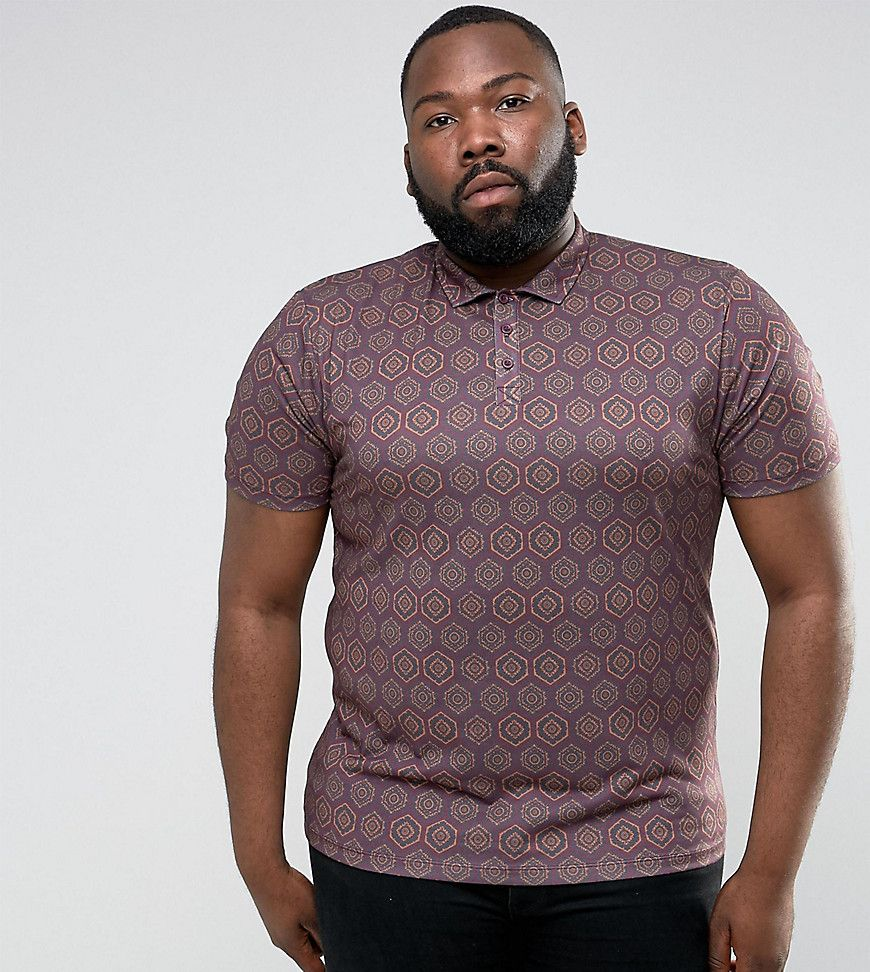 ASOS PLUS Polo Shirt In All Over Retro Print - Red