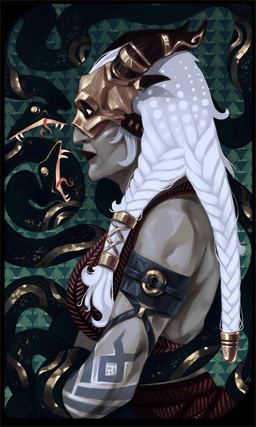 Qunari tarot card, Yana Glotova on ArtStation at https://www.artstation.com/artwork/EL6x2