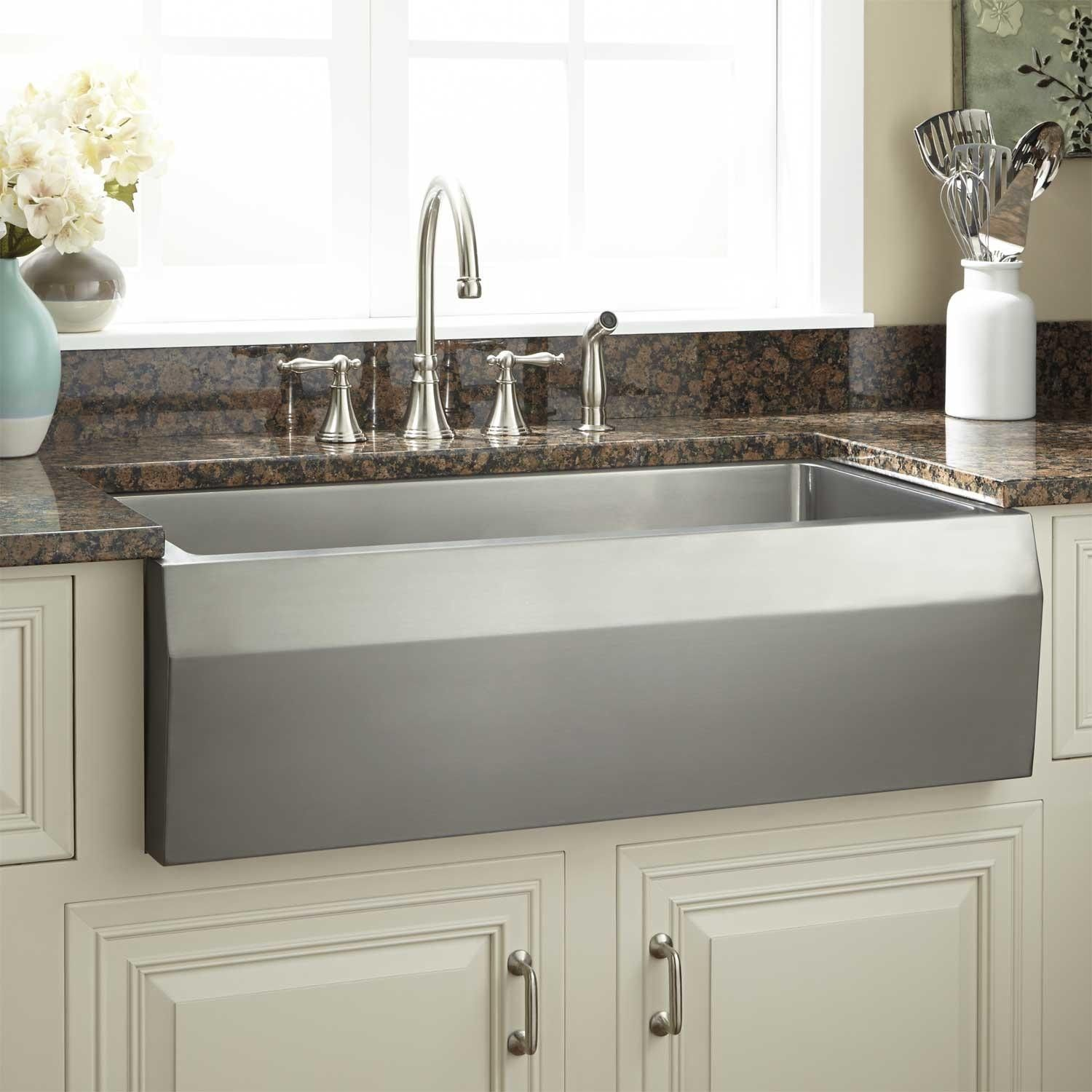 "36"" Optimum Stainless Steel Farmhouse Sink Angled Front"