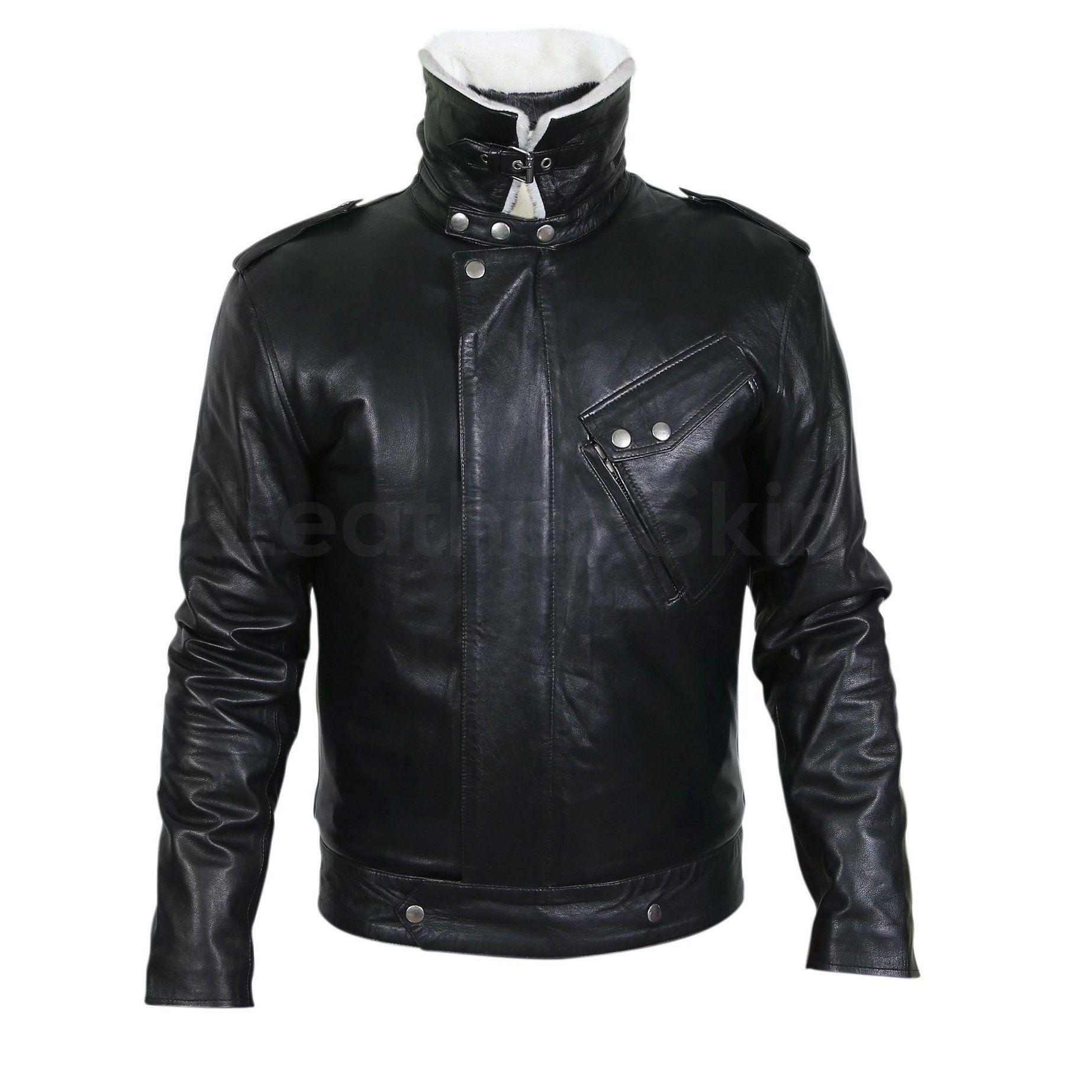 Men Black Genuine Leather Jacket with White Fur Collar