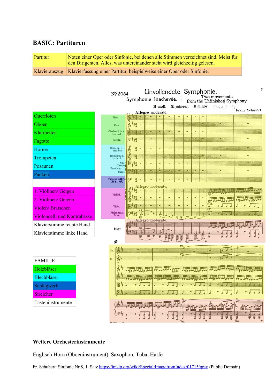 Basic Und Aufbau Partituren Unterrichtsmaterial Im Fach Musik In 2020 Unterrichtsmaterial Aufbau Orchester