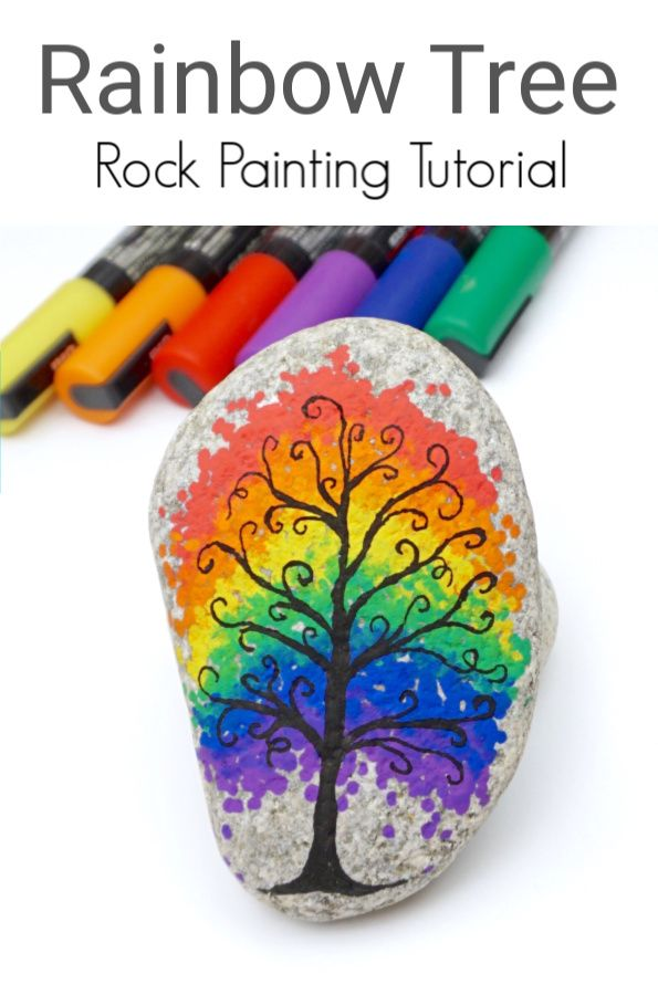 Photo of Rainbow Tree Painted Rock Tutorial • Color Made Happy