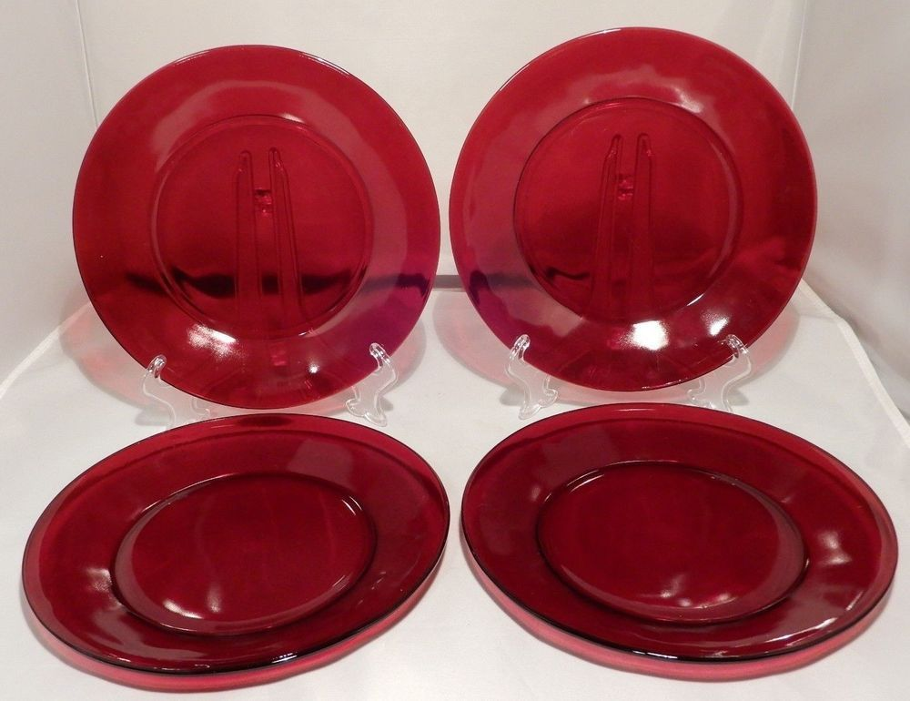 Vintage Anchor Hocking ROYAL RUBY RED 9\  Glass Dinner Plates (Set ... & Vintage Anchor Hocking ROYAL RUBY RED 9\
