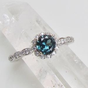 Blue Green Sapphire Engagement Ring in 14k White Gold Diamond Halo Flower Style Gemstone Engagement