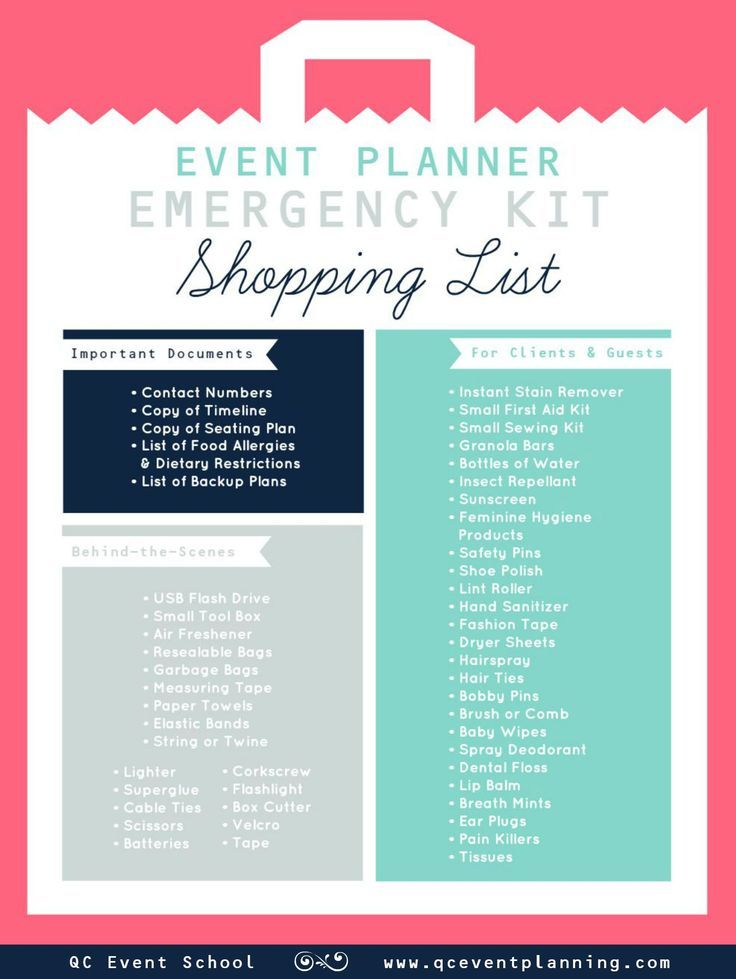 Event Planner Emergency Kit Infographic Let\u0027s Party Pinterest
