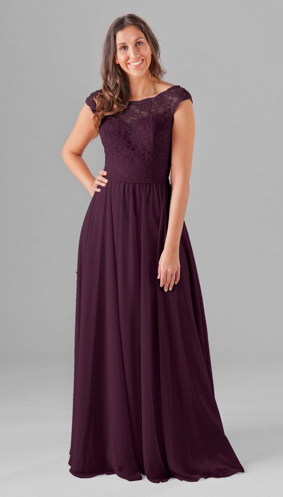 5c305779955 A long lace and chiffon bridesmaid dress with an illusion