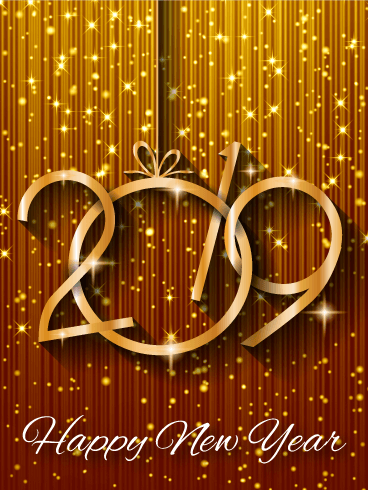 shiny gold happy new year card 2019 do you have a glamour loving diva in your life send them this sparkling golden happy new year card to ring in 2019