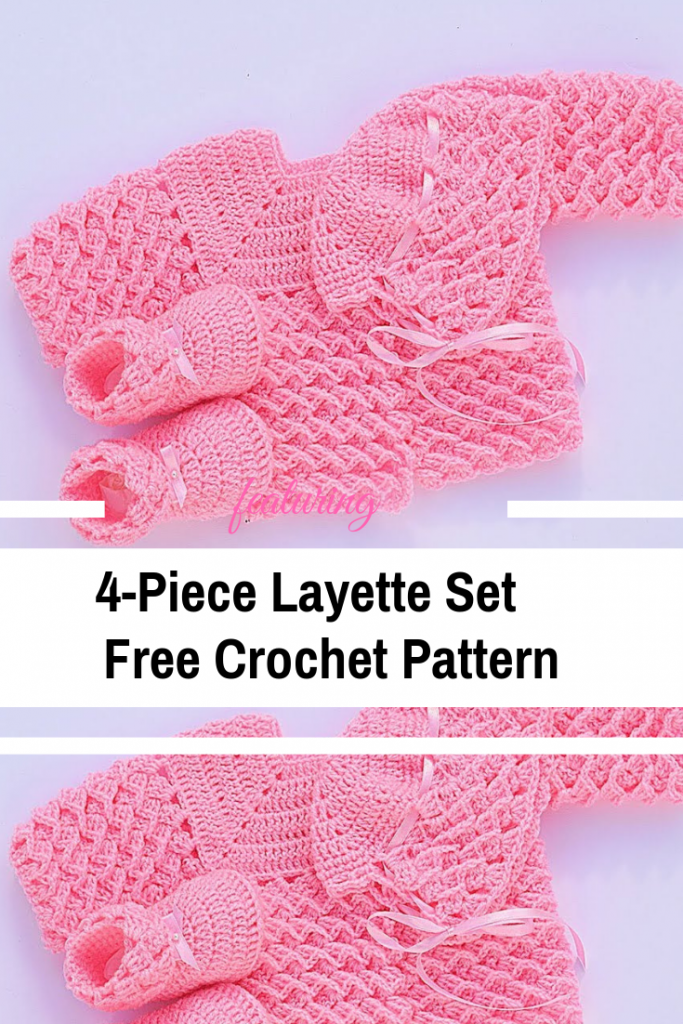 Very Easy 4-Piece Baby Layette Set | Crochet Layettes, Sweater Sets ...