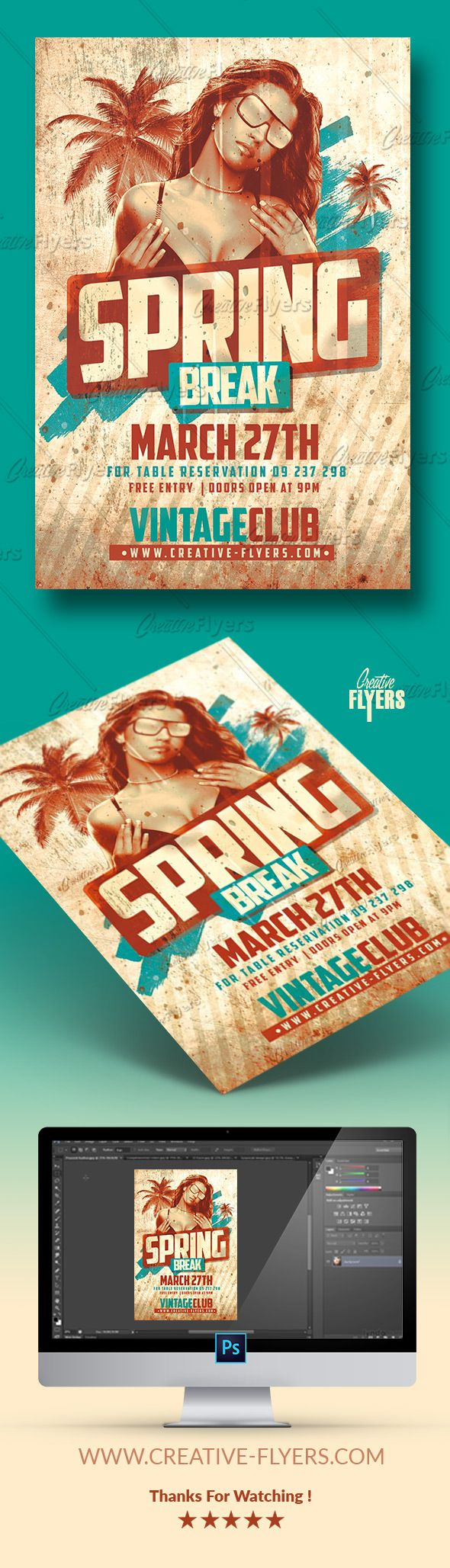 Create A Vintage Flyer Perfect To Promote Your Spring Break, Or Event With  These Psd Photoshop Templates… #spring #break #springbreak #flyer #vintage # Retro