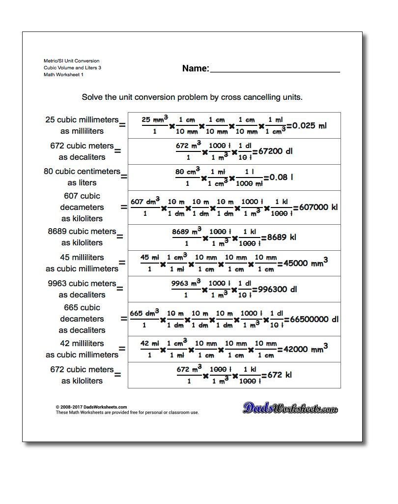 Metric Si Unit Conversion Worksheet Cubic Volume And Liters 3