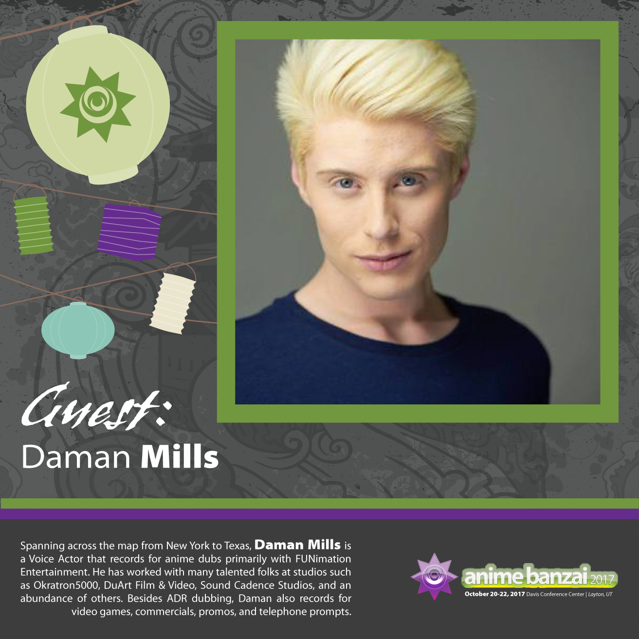 Welcome Our Next Anime Banzai 2017 Guest, Daman Mills