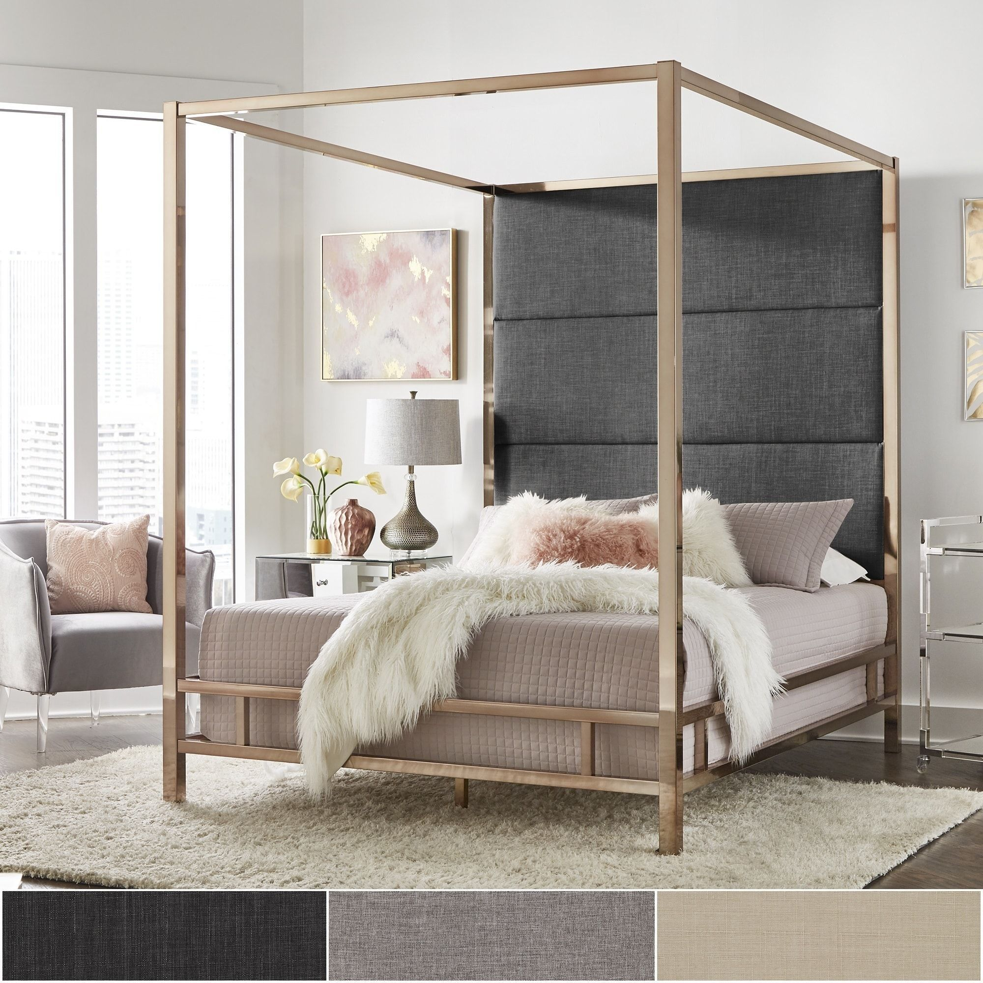 Evie Champagne Gold Metal Canopy Bed with Linen Panel