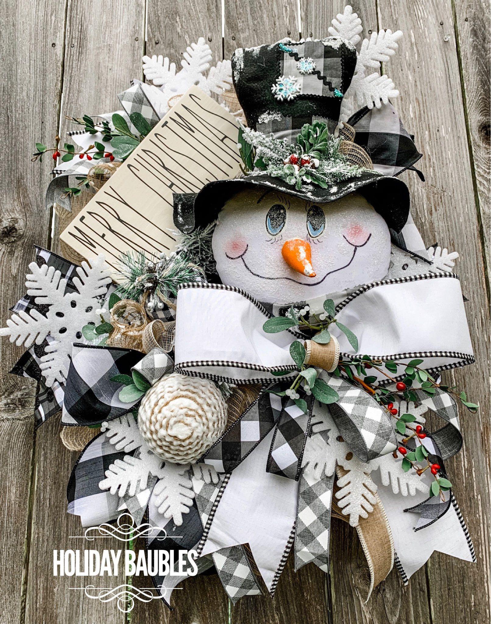 Christmas Wreath Snowman Wreath Winter Wreath Holiday Wreath Chrismas Decor Snowman Wreath Snowman Buffalo Plaid Wreath Free Shipping Chrismas Decorations Christmas Wreaths Holiday Decor