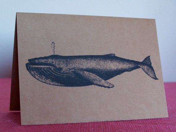 Humpback Whale Note Card printed on Kraft by fathersdaughtrstudio, $3.50