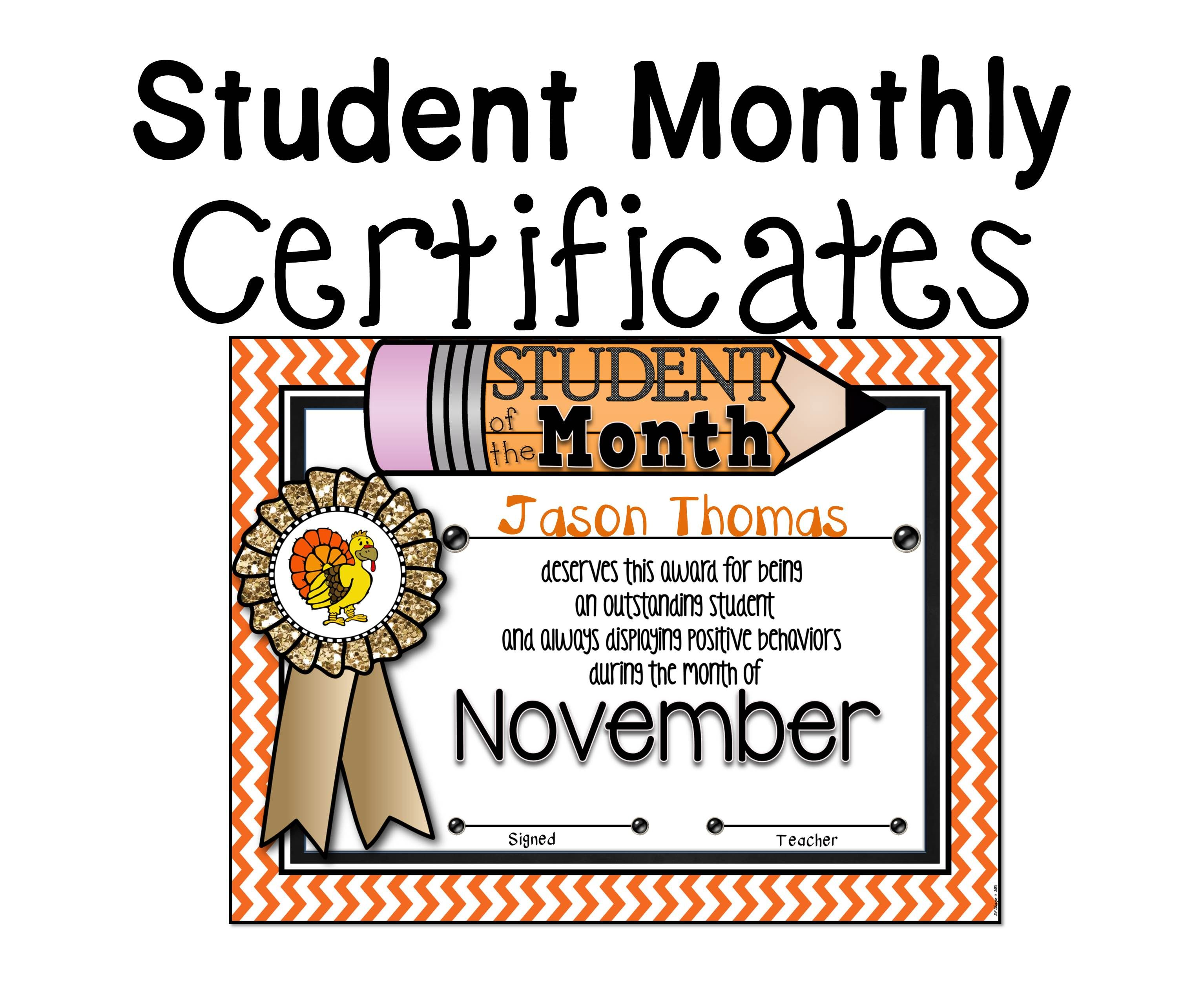Student Of The Month Awards Pack Fillable A Teacher In Paradise