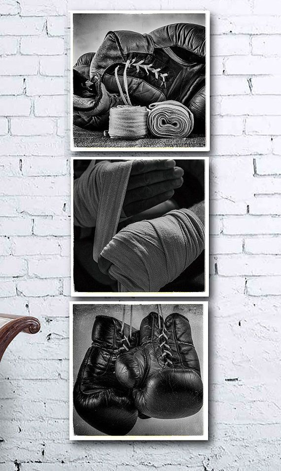 Set of 3 black and white boxing photos printable wall art vintage wall art
