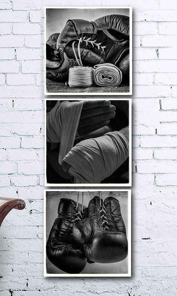 Set of 3 black and white boxing photos printable wall art vintage wall art