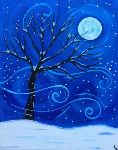 Swirly Wind Snow Covered Tree Moon Painting Beginner Canvas Idea