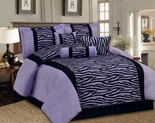 King Bedding Soft Short Fur Comforter Set Black Purple Zebra Bed